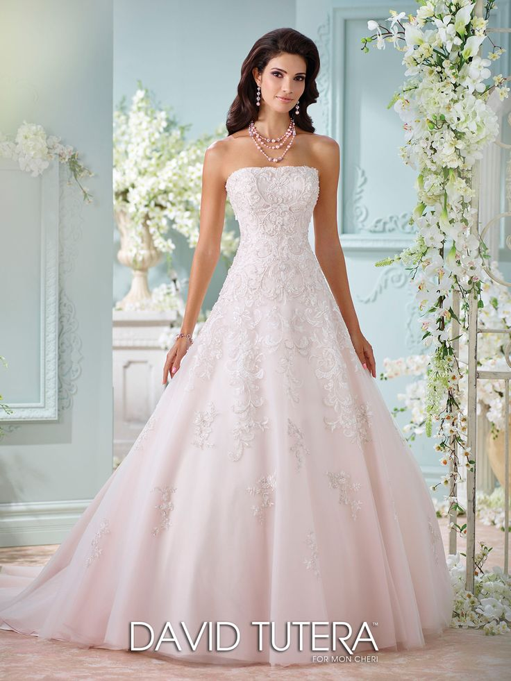Strapless Hand Beaded Lace Tulle Wedding Dress 116216 Sunniva