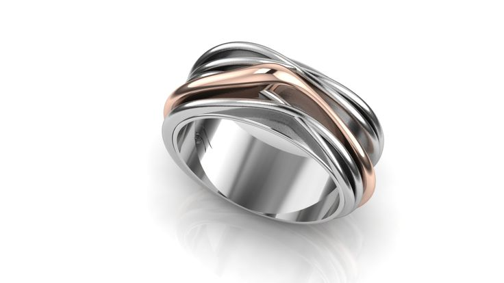 Ring whitegold with rosegold band, made for customer by Marleen van Kempen
