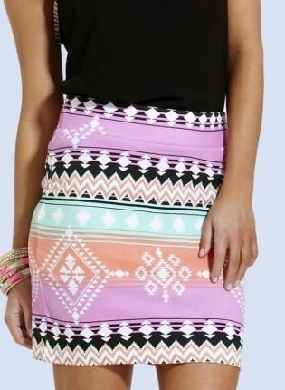 Bright Aztec Print Fitted Mini Skirt with Elastic Waist,  Skirt, aztec print  mini skirt, Casual