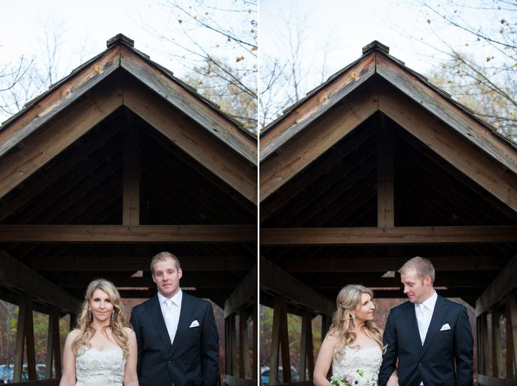 Ancaster Mill bride and groom on bridge