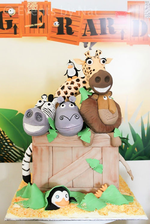 Africa Safari Madagascar Animal Movie Themed First Birthday Party: The Cake