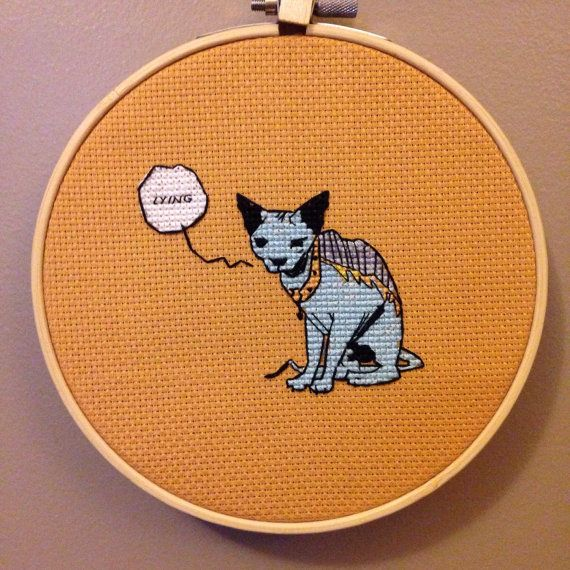 saga lying cat cross stitch