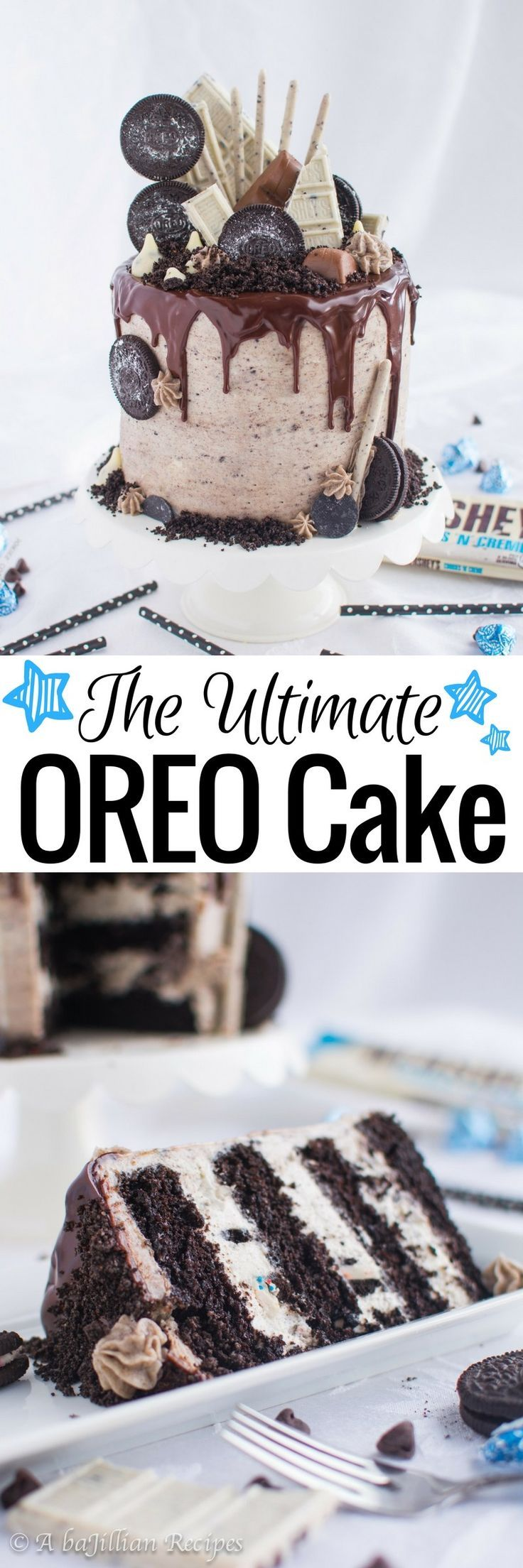 Oreo Cake | A baJillian Recipes - Moist layers of Oreo-infused chocolate cake filled with fluffy cookies n' creme mousse and frosted in creamy Oreo buttercream! Triple the Oreo, triple the deliciousness!