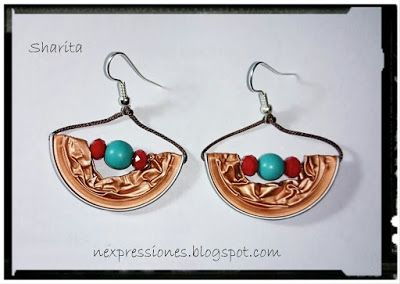 neXpréssate!!!: PENDIENTES ABALORIOS Y MEDIA LUNA NESPRESSO HALF MOON EARRINGS WITH BEADS