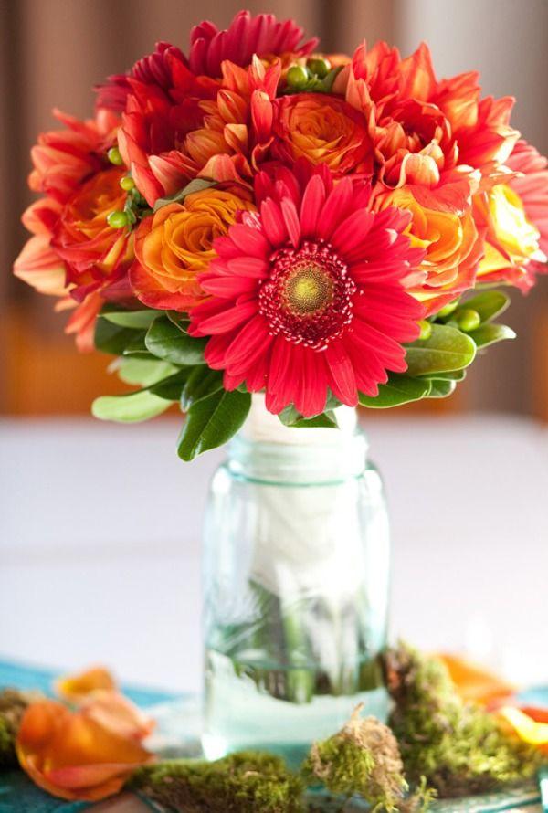 CenterpiecesBeautiful Flower, Gerber Daisies, Gerbera Daisies, Vases, Bouquets, Fall Weddings, Fresh Flower, Mason Jars, Bright Colors