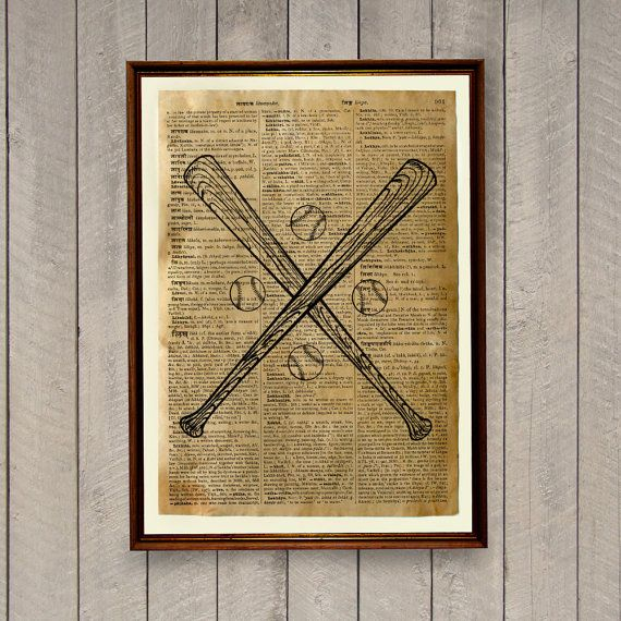 Vintage poster on handmade antique paper. Baseball bats print to decorate your home and office. Measurements of this sports decor are 8.3 x 11.7