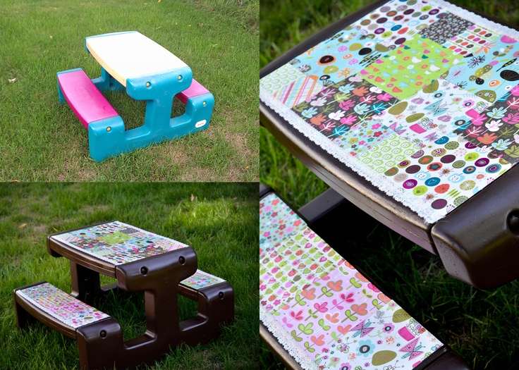Kids' Table Makeover: Little Tykes table, spray paint, scrapbook paper, (outdoor)Mod Podge. <3