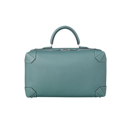 "Maxibox Hermes bag in sky blue evercolor calfskin Measures 14"" x 8.5"" x 6"" Silver and palladium plated hardware."