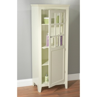 Simple living antique white tall bathroom linen cabinet by for Bathroom cabinets jcpenney