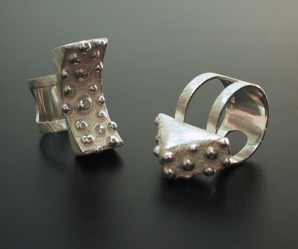 "Tytti Lindström, ""Bubble Signs"" rings in sterling silver. 