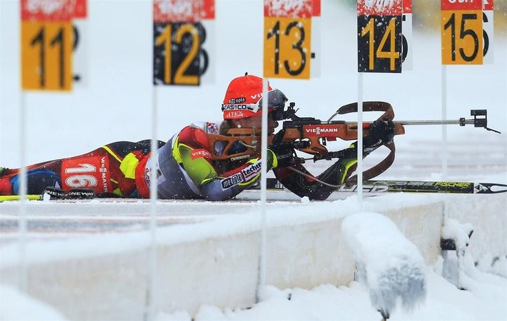 PRVNÍ STŘELBA. Gabriela Soukalová zastřílela ve sprintu Světového poháru ve slovinské Pokljuce zcela čistě a vybojovala svůj premiérový triumf v SP.