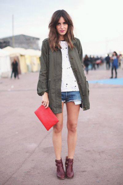 Add a cute military jacket and booties to your summer denim shorts to take your look from summer to fall~