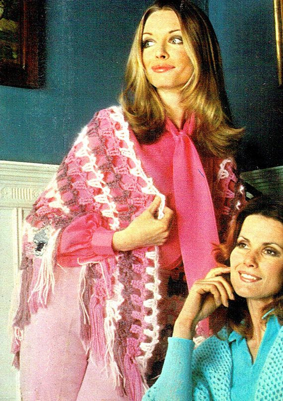 PDF Vintage 1970s Womens Ladies Lacy Cape & Shawl Crochet