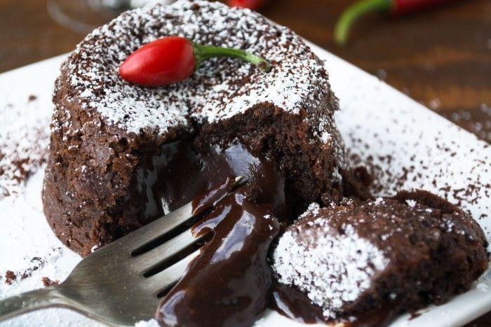 Patrón Incendio Molten Lava Cake is a voluptuous dessert with a surprise kick of chocolate chile liqueur!