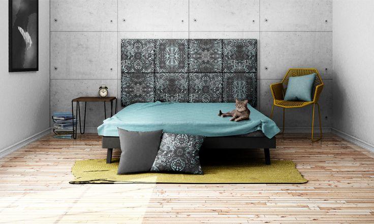 Headboard - upholstered modular wall panels PATTERN No. 1004 Grey Ornament by DesignPolski on Etsy