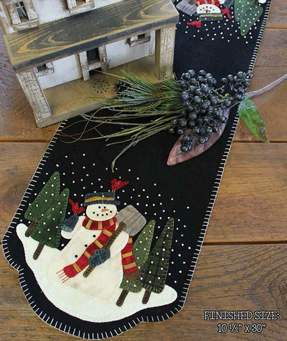 Snowman Wool Applique Table Runner Fabric Kit and Applique Pattern #PRI 522 Kit - Snowman For Hire by SimplyUniqueBySheila on Etsy