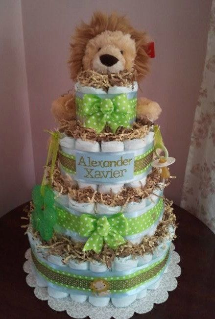 Custom Lion Diaper Cake