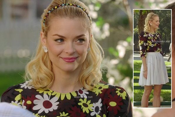 Lemons multicolored daisy print top and white pleated skirt on Hart of Dixie.  Outfit details: http://wornontv.net/11477/
