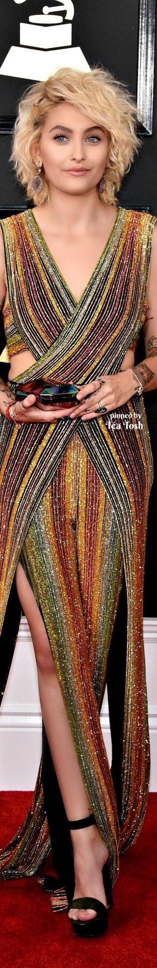 ❇Téa Tosh❇ Paris Jackson, Grammys 2017. Wearing a Balmain jumpsuit, WAR by Michael Bradley purse, and Kimberly McDonald jewels.