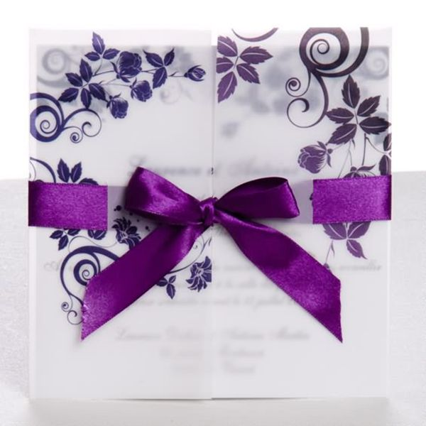 Elegant Purple Pocket Ribbon Wedding Invitaions