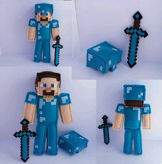 Minecraft Diamond Steve Birthday Bundle, Stuffed Plush, Handmade, Felt, Computer…