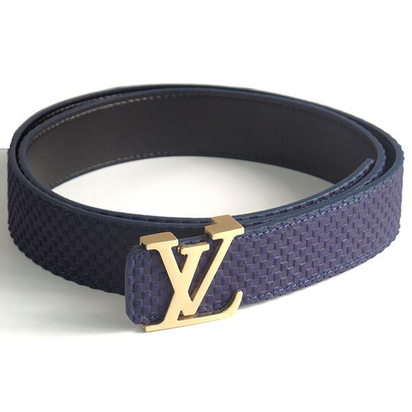 - Well crafted Men's designer belt with intricate patchwork design - Features a prominent designer LV buckle in black, silver or gold - Belt width is 1.49 inches - This is a dark blue belt that can be