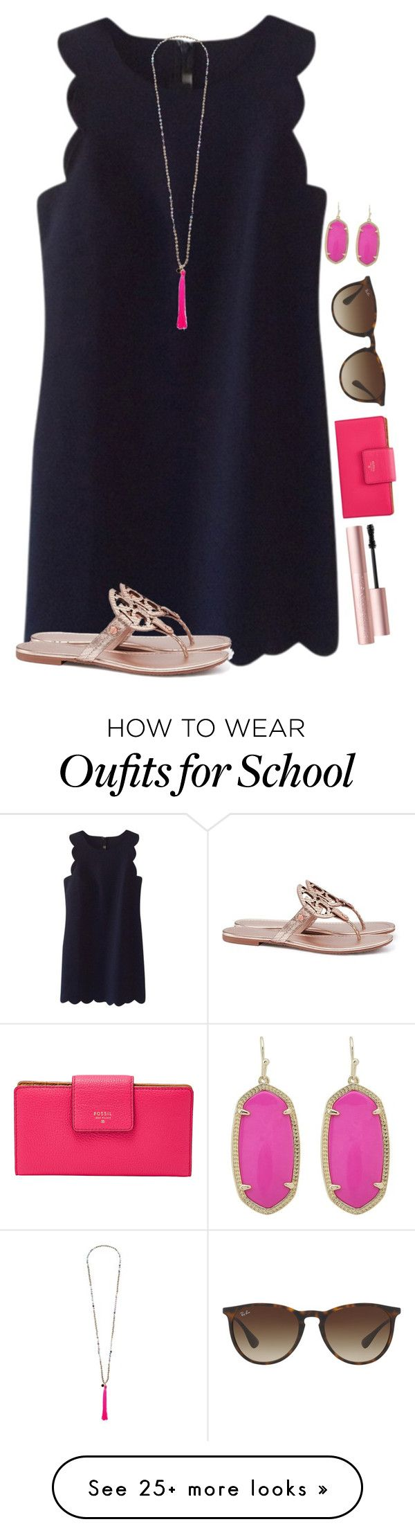 """Day 3: school dance"" by blonde-prepster on Polyvore featuring J.Crew, Tory Burch, French Connection, Too Faced Cosmetics, FOSSIL, Ray-Ban and Kendra Scott"
