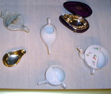 "Pap boats or infant feeders were in use from the late 17th through the 19th centuries. The vessels were used to administer ""pap"" to an infant or an adult invalid. Pap was a piece of bread soaked in wine with meal and sugar added. For the infant, the nurse occasionally pre-chewed the mixture."