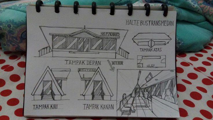 Halte Bus Trans Mebidang, dengan konsep kearifan lokal dengan didesain menyerupai rumah adat Batak (jabu bolon) dan juga memiliki sentuhan budaya Melayu dengan atap jalur penghubung antara halte menuju pintu bus. Halte ini dibuat untuk seluruh halte Trans Mebidang dengan design yang sama.