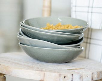 Satz von 4 Pasta Schalen, graue Keramikschale, Keramik Servierschale, Suppenschüssel, Salatteller, Keramik-Schalen, Housewarminggeschenk
