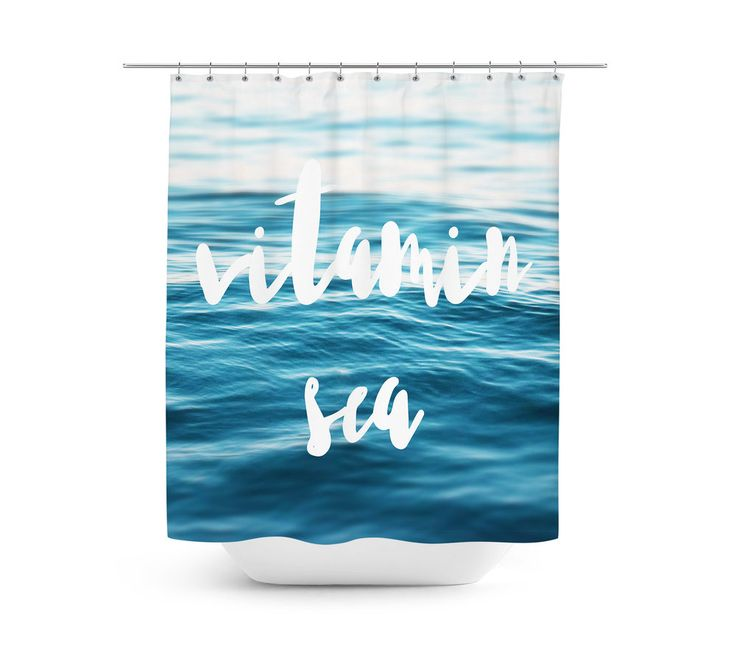 """A vivid ocean backdrop to inspire the feel of your vanity bathroom  settings, this nautical inspired shower curtain accent features a calming  scene of blue ocean water throughout! Measuring at 71x74 inches with a  twelve buttonhole eyelet rim for ease of hanging, this refreshing addition  to coastal bath interior settings comes adorned with the words """"Vitamin  Sea"""" in a stylish typography font design across, and adds an inspiring  beach feel to your surf style bath settings!   *Av..."""
