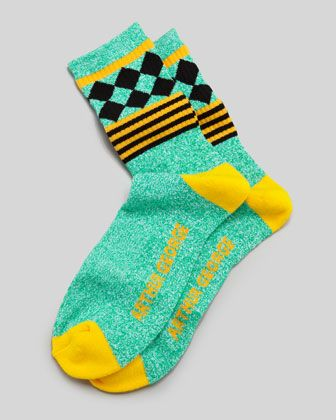 Jester Men\'s Socks, Green/Yellow by Arthur George by Robert Kardashian at Neiman Marcus.
