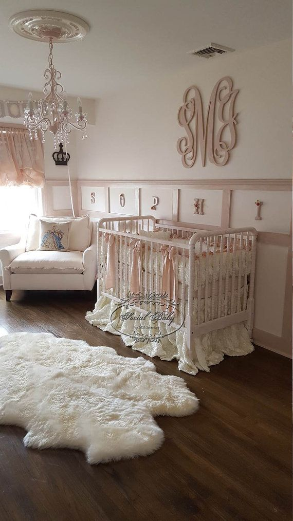 baby girl bedding in ivory rosettes with blush pink silk 10155 | 6e7f0313fa5160c187dc254fa60fcbe9