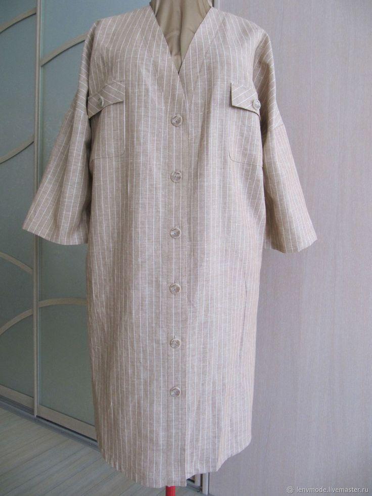 Купить Льняное платье в стройную полоску в интернет магазине на Ярмарке Мастеров