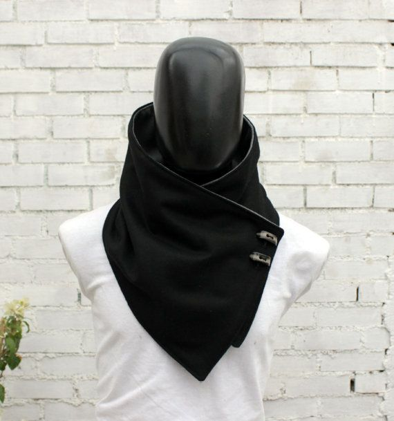 Men scarf. Men cowlWide Black wool with toggle by CheriDemeter, $34.00