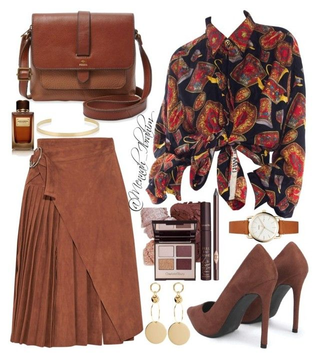 """""""#Classic #Brown #Velvet"""" by mennah-ibrahim on Polyvore featuring Off-White, FOSSIL, Dolce&Gabbana and Jennifer Fisher"""