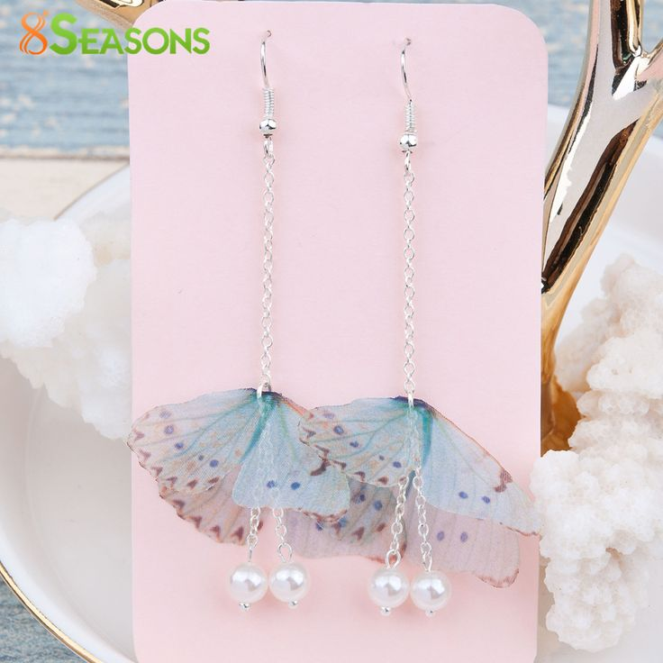 8SEASONS Handmade Organza Ethereal Butterfly Earrings Silver Gold Plated Color Green Blue Imitation Pearl Red Glitter,1 Pair