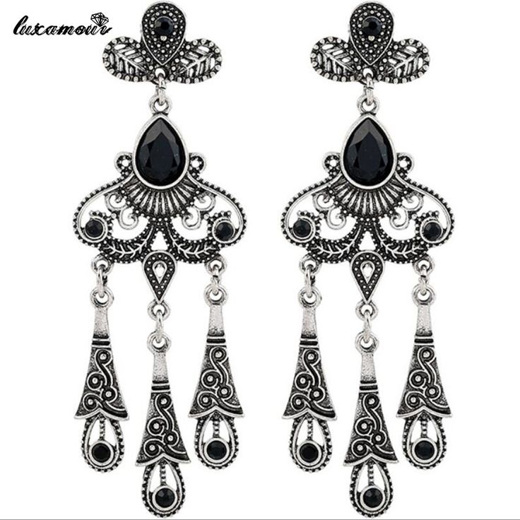 Vintage tibetan silver plated Carved hollow black gem drops Long earrings for women cocktail party earring jewelry wholesale 103 #Affiliate