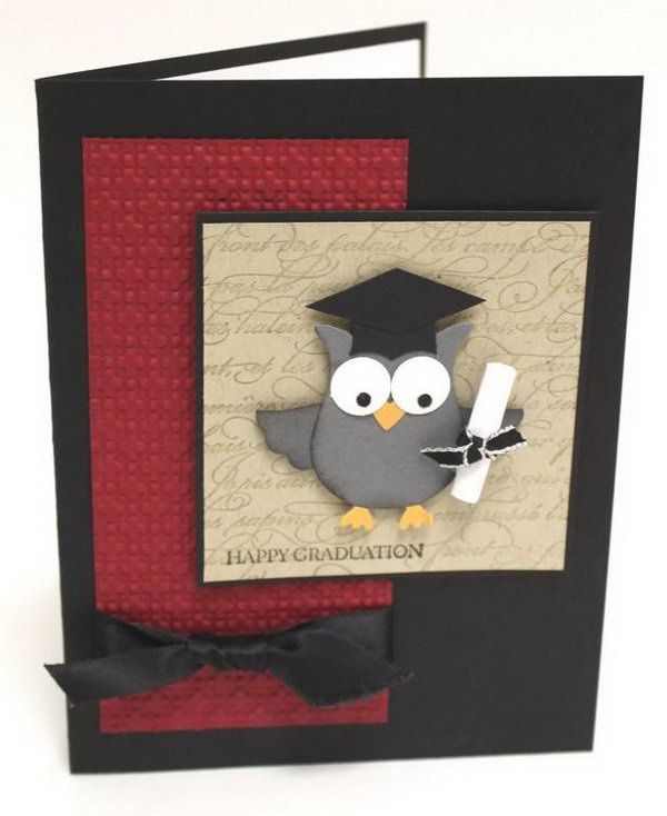 Wise Owl Graduation Card. This awesome graduation card features an adorable owl holding the diploma wearing a graduation cap on the square lattice embossing folder.
