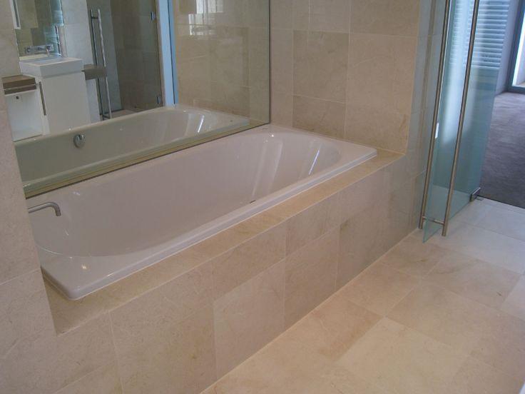 29 best bathroom images on pinterest bathrooms bathroom and master bathroom for Best paint color for crema marfil bathroom