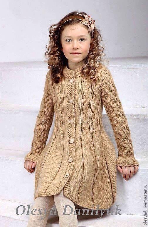 Little girls' knitted coat or dress