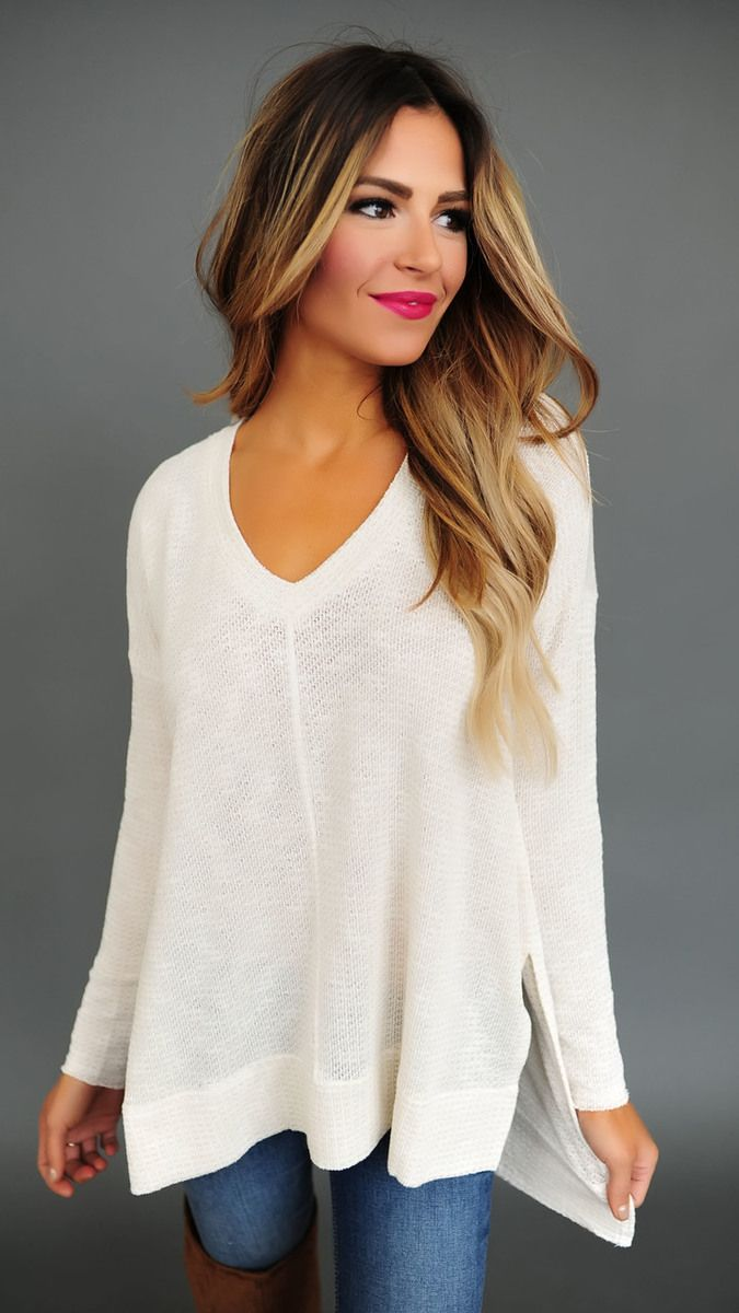 Oatmeal V Neck Thermal Knit Top - Dottie Couture Boutique