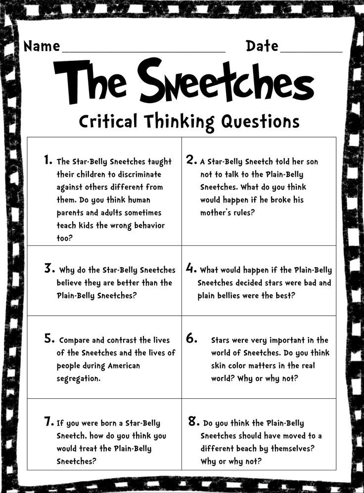 critical thinking lesson ideas