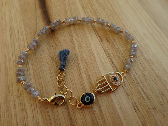 Labradotrite Bracelet with Gold Hamsa Charm - Evil Eye Beaded Bracelet