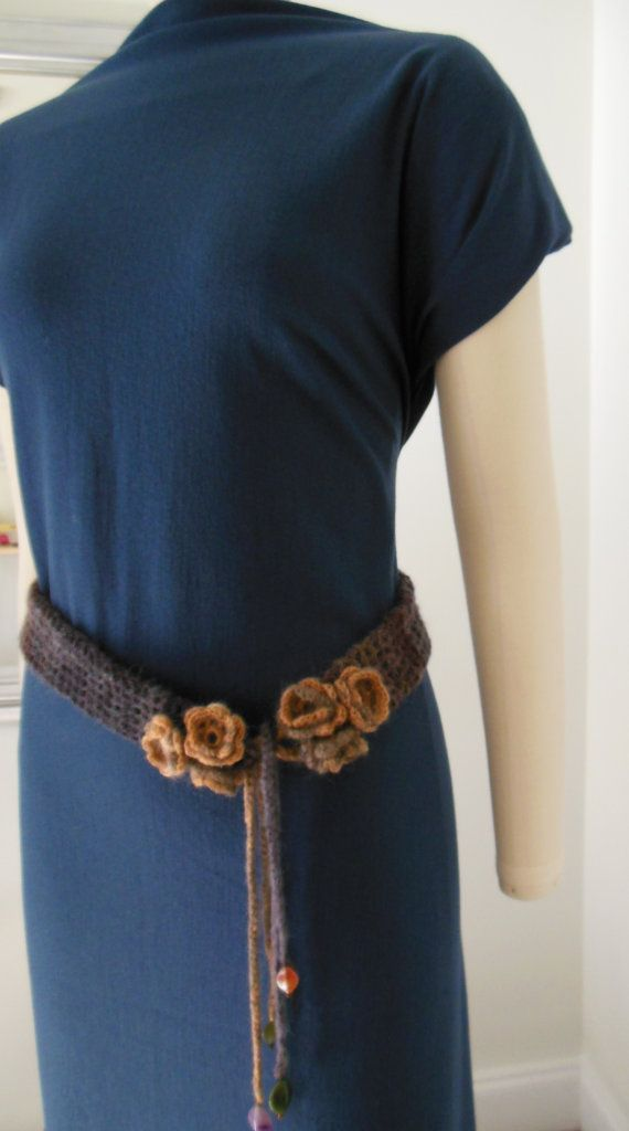 Women crochet multicolor belt sash with flowers crochet by Zoia, $30.00