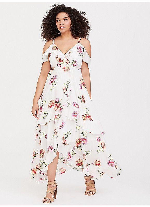 Torrid White Floral Flounce Challis Maxi Dress With Images Dresses Maxi Dress Lace Maxi Dress