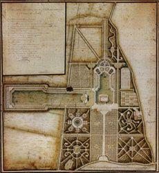 afbeelding van het niet gerealiseerde tuinontwerp van architect De Lage uit 1751 voor Ter Hooge te Koudekerke