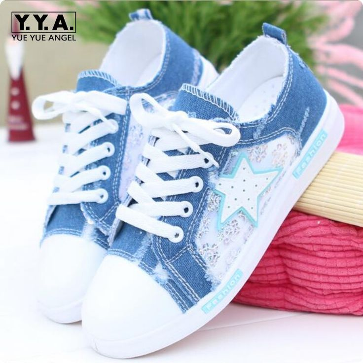 Sweet Girl Korea Fashion Denim Lace Up Mesh Hollow Out Canvas Shoes Breathable Lace Floral Casual Shoes Zapatos Mujer