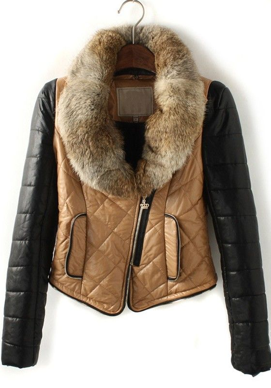 Brown Patchwork Zipper Pockets Thick PU Leather Coat