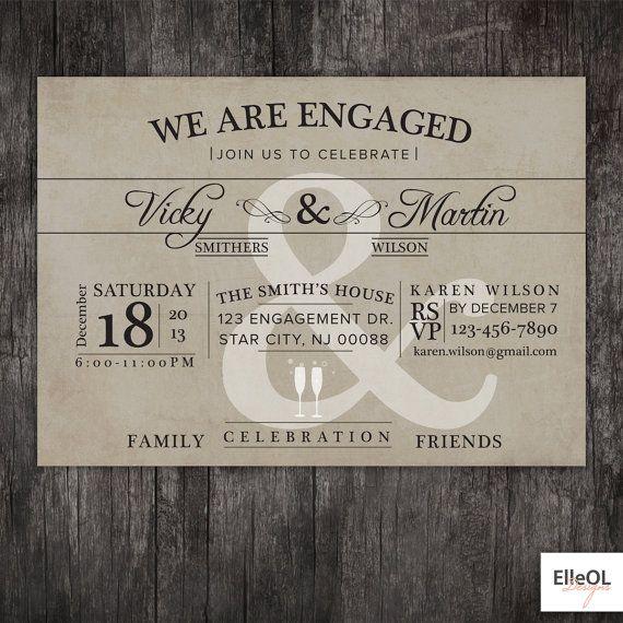 Engagement+Party+invitation++Wedding+announcment++by+ElleOL,+$16.00
